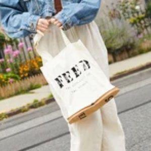 FEED PACKABLE ZIP TOTE REUSABLE BAG WHITE BURLAP